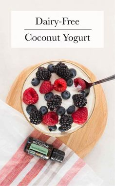 This recipe for coconut yogurt with Green Mandarin essential oil will turn a boring breakfast routine or afternoon snack into a delight! All it takes is three ingredients, and you've got yourself a delicious, healthy bite to eat. Healthy Yogurt, Good Healthy Snacks, Coconut Yogurt, Healthy Eating, Cooking With Essential Oils, Doterra Essential Oils, Coconut Recipes, Real Food Recipes, Making Yogurt