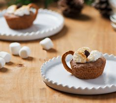Hot Chocolate Cookie Cups-Becel Anything Goes Cookie Dough Cookie Cups, Cookie Dough, Hot Chocolate Cookies, Toffee Bits, Pretzel, Marshmallow, Sugar Cookies, Cookie Recipes, Baking