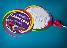 Lollipop birthday party invitation for Candy Land party