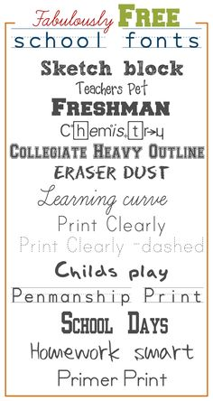 Links to Free School Fonts