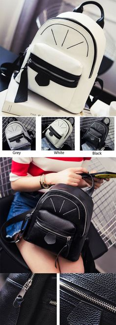 Cute Contrast Color Girl Small Rucksack Mini Satchel PU Shopping Backpack for…