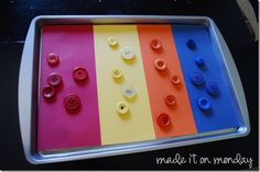 Magnet activities for kids - using a cookie sheet