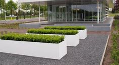 The florida trough planter is made from thick aluminium, the outside layer has 2 scratch-resistant powder coatings and the inside is covered with an epoxy coating. Trough Planters, Garden Planters, Garden Troughs, Fiberglass Planters, Buxus, Small Garden Design, Garden Boxes, Small Trees, Garden Accessories