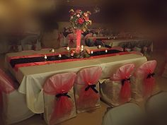 Hot Pink and black wedding. Chaircover available for rent from Party with Pizzazz Check out Party with Pizzazz by Connie Sprunger on Facebook