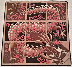 "VINTAGE DANIEL HECHTER PARIS ABSTRACT ART DRAGON BROWN PINK SILK 34""SQUARE SCARF #DANIELHECHTER #Scarf"