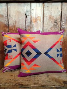 Pendleton Throw Pillow, Wool Blanket Fabric, Tan, $79.00 for set of two on Etsy