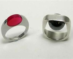 PIERRE CARDIN - a 1960's futuristic ring and on the right, a ring by CLAUDE MOMIRON