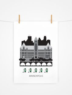 Minneapolis, Twin cities Art print, Scandinavian design, City hall, modern poster by Formanova on Etsy