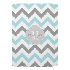 Baby Blue and Gray Chevron with Monogram  {15% OFF All Orders -- 30% OFF All Clothing -- Use Code: ZAZZCLOTHING -- Ends Tomorrow!}