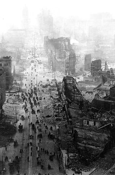 Market Street, San Francisco, after the devastation of the 1906 earthquake. I could picture the aftermath of the Cataclysm in Broken Sky looking like this.
