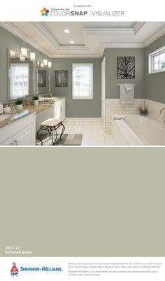 I found this color with ColorSnap® Visualizer for iPhone by Sherwin-Williams: Softened Green (SW 6177).