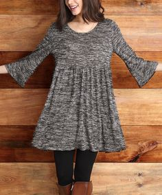 Another great find on #zulily! Charcoal Melange Empire Bell-Sleeve Dress by Reborn Collection #zulilyfinds