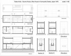 The Azuma House – Row House by architect Tadao Ando was built in Sumiyoshi, Osaka, Japan in Tadao Ando, Casa Azuma, Koshino House, Row House Design, Japan Architecture, Ancient Architecture, Sustainable Architecture, Landscape Architecture, House Drawing