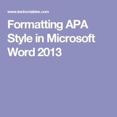 apa format on microsoft word
