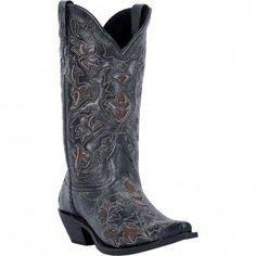 52040 Laredo Women's Peekaboo Western Boots - Black www.bootbay.com