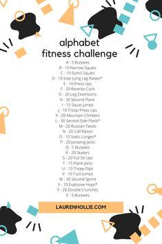 Alphabet Fitness Challenge - Lauren Hollie Fit Board Workouts, At Home Workouts, Workout Board, Workout Guide, Workout Challenge, Workout Routines, Alphabet Workout, Reverse Curls, Tuck Jumps