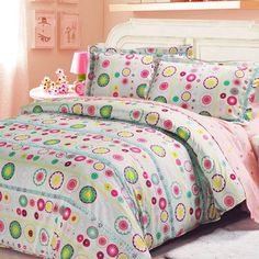 Auvoau Circular Pattern Polka Dot Pink White Kids Girls Bedding Sets Twin without comforter * Check out this great product. Girls Pink Bedding, Green Bedding, Girls Duvet Covers, Duvet Cover Sets, Beds For Kids Girls, Flower Lights, Circular Pattern, Full Bed, Pink White
