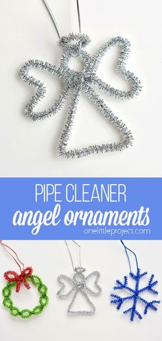 These angel pipe cleaner ornaments are ADORABLE and they're really easy to make. Such a fun way to make homemade Christmas ornaments in less than 5 minutes! Crafts with pipe cleaners Easy Pipe Cleaner Angel Ornaments Christmas Angel Crafts, Diy Christmas Decorations, Origami Christmas Tree, Simple Christmas Cards, Christmas Ornaments To Make, Christmas Diy, Homemade Christmas, Christmas Trees, Handprint Christmas Tree
