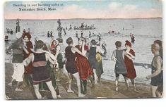 Nantasket Beach-Massachusetts-Dancing-Bathing Beach-Suits-Antique Postcard