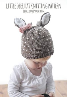 This cute little deer hat knitting pattern is perfect for your little dear! This deer hat is knit in the round and with two colors of yarn at once (fair isle knitting) to make the cute tiny polka dot pattern. It includes instructions for all four sizes and optional antlers and/or bow