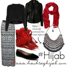 Hijab Outfit  I dont think I would wear the leather jacket or the red scarf with this outfit. I love the skirt and sweater though