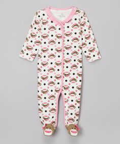 Look at this Pink Sock Monkey Footie on #zulily today!