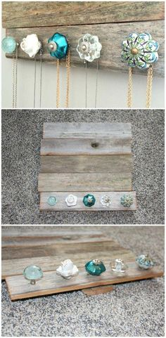 15 Amazing DIY Jewelry Holder Ideas to Try DIY Jewelry holder – perfect for holding and organizing your jewelry and necklaces. Cute antique knobs (from Pier 1 Imports) and barn wood (Hobby Lobby). Jewellery Storage, Jewelry Organization, Jewellery Display, Diy Jewellery, Fashion Jewelry, Diy Jewelry To Sell, Shabby Chic Jewellery Holder, Sell Diy, Jewellery Shops