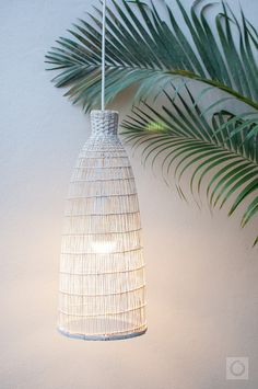 White washed Bamboo Pendant Light Fish Trap Pendant Lamp