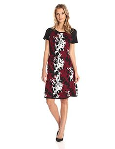 Taylor Dresses Womens Cap Sleeve Printed Fit and Flare Sweater Dress Merlot Medium ** Find out more about the great product at the image link.(This is an Amazon affiliate link)