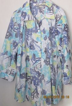 Women's Casual Alia 22W Multi Blue Cotton Blend 3/4 Sleeve Blouse Button Front #Alia #Blouse #Casual