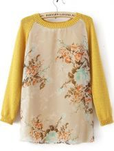Yellow Long Sleeve Round Neck Floral Mesh Yoke Sweater $30.24