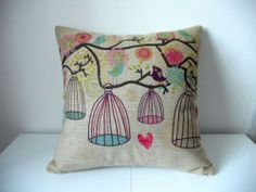 Cotton Linen Square Decorative Throw Pillow Case Cushion Cover Bird and Birdcage 18