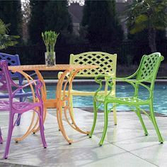 bright colored painted lawn furniture ideas - Google Search