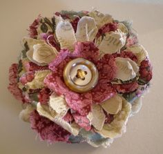 Creative Chatter: New Direction...Making Shabby Fabric Flower Brooches!!