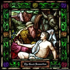 The parable of the Good Samaritan is illustrated in stained glass.