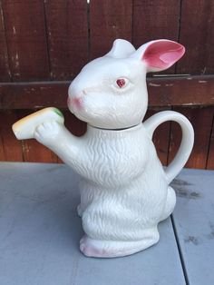 vintageTony Wood Rabbit teapot ... white rabbit standing upright, head as lid with pink lined ears as knob, carrot held in paws as spout, ceramic, UK