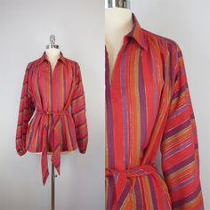vintage 70s gauzy cotton blouse / metallic by archetypevintage, $40.00