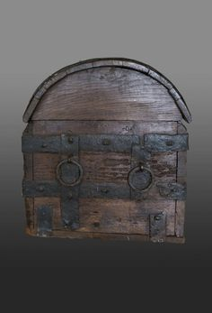 English Iron bound chest probably from East Anglia, many similar chests are found in Suffolk churches. This one with three locks to the front and carrying handles on each end. later floor board. Oak and Deal. These chests were probably made on the Continent and exported in the late 15th century to England for use …