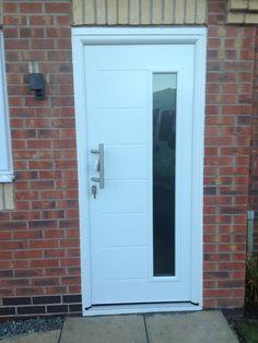 Hormann Thermo Pro entrance door #whitedoors  #securedoors #hormann #barhandle #longwindow #frontdoors #steeldoors #doorsLeicester