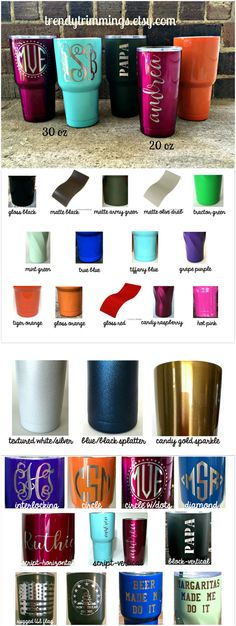 ** THIS LISTING IS * 30 oz * SIZE **  Custom powder coated double wall stainless steel tumbler, engraved with your choice of design. Includes shatter resistant lid with rubber seal. This is a PERMANENT etched design, we do NOT use vinyl!  Performs like Yeti, RTIC, or SIC when tested- why pay the higher price? HOLDS ICE- up to 48 hours! KEEPS HOT- up to 8 hours!  Choose your color and design from the drop down boxes. Looking for a color not listed? Let us know and we can probably get it!  *If…