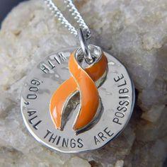 Leukemia Awareness necklace MS Awareness Orange Awareness ribbon charm Multiple Sclerosis Awareness necklace Stronger than Challenge