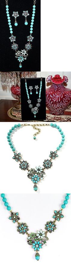Jewelry Sets 50692: New Heidi Daus Petite Corsage Station Necklace Earrings Crystal Turquoise Set -> BUY IT NOW ONLY: $259.99 on eBay!