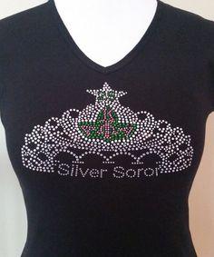 AKA 25 Years Silver Soror Crown Rhinestone T-Shirt. by CLeiDesigns
