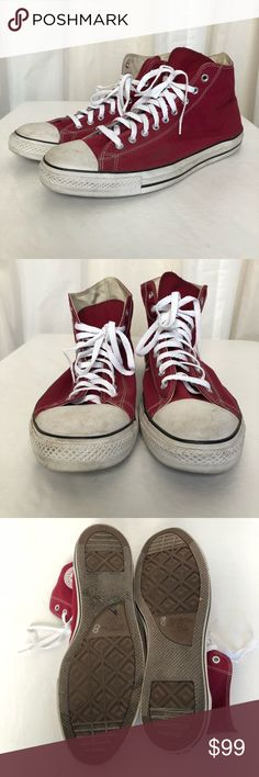 Converse All Stars High Tops Mens Sz 17 Red Merlot Classic Chuck Taylor Converse All Stars High Tops  Men's Size: 17 Women's Size: 19  Color: Red, Merlot  Pre-loved Condition: Only worn a few times. Please see photos. Converse Shoes Sneakers