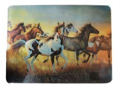Tempered Glass cutting board with wild mustang herd