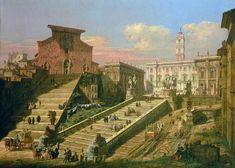 Piazza del Campidoglio and the Church of S. Mario d'Aracoeli, Rome