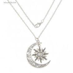 Silver Sun Knot Moon Charm Pendant Necklace