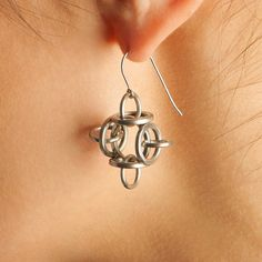 Rapt In Maille | Handmade Chainmaille Jewelry by Melissa Banks | Stainless Steel | Chicago — HALO Architectural Box Earrings
