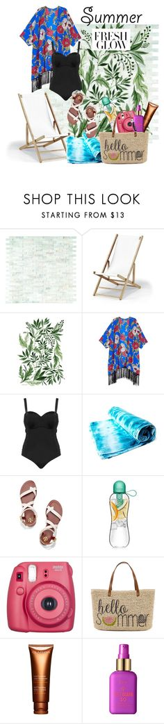 """Beach Chic"" by simplicityandme ❤ liked on Polyvore featuring Telescope Casual, Melissa McCarthy Seven7, Robyn Lawley, Tory Burch, Straw Studios, Clarins, tarte, Chapstick and coverups"
