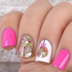 Colorful and pretty glitter nail art details on top of white and pink matte polishes Christmas nail art Nail Design Glitter, Glitter Nail Art, Pink Glitter, Christmas Nail Art Designs, Holiday Nail Art, Xmas Nails, Christmas Nails, Pink Christmas, Christmas Ornament